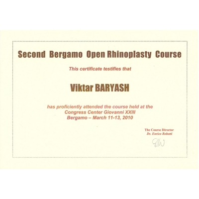 Second Bergamo Open Rhinoplasty Course, Congress Center Giovanni XIII, Bergamo, March 11 - 13, 2010